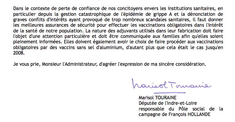 Marisol Touraine s'engage pour des vaccins sans aluminium